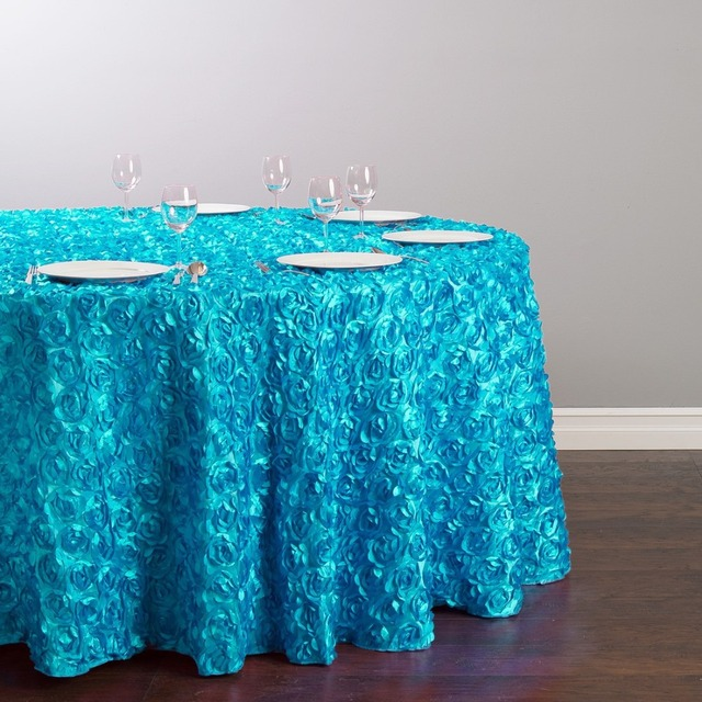 Custom Order Are Welcome Satin Feel 130 inch/330cm Polyester Round Tablecloth Turquoise for Ceremony Wedding, 5/Pack