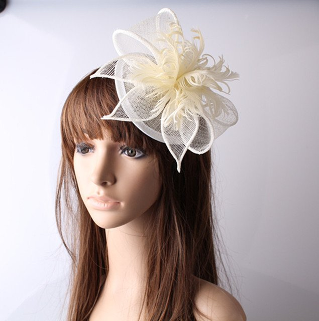 Millinery Sinamay Hat Nice Feather Flower Fascinators for Wedding Headwear Bridal Hats Party Hats Cocktail Hats 17 Colors OF1535