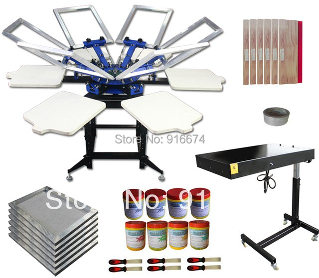 FAST FREE shipping 6 color 6 station silk screen printing kit t-shirt printer press equipment frame plastisol ink squeegee