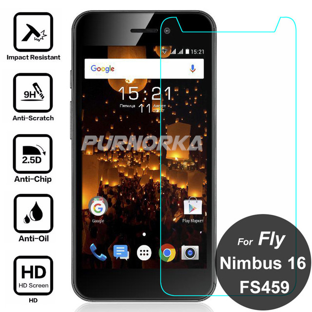 For Fly Nimbus 16 FS459 Tempered Glass Protective Film 9H Front Screen Protector On Nimbus16 FS459 FS 459 4.5 inch Glass Film