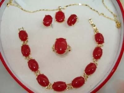 Red gem Necklace Bracelet Earring Ring Set Wonderful Nobility Fine Wedding Jewelry Lucky Women's 925 silver