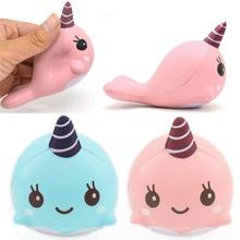 2017 Hot Decompression toys 9CM Soft Whale Cartoon Squishy Slow Rising Squeeze Toy Phone Straps Ballchains Dropshipping