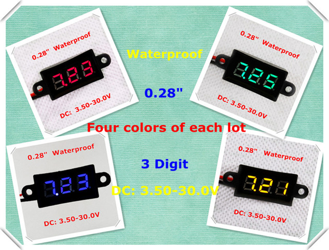 """RD 0.28"""" Digital voltmeter  Waterproof Variable Precision 3 digit 2 lines Four colors of each Lot 3.50-30.0V [ 4 pieces/ lot]"""