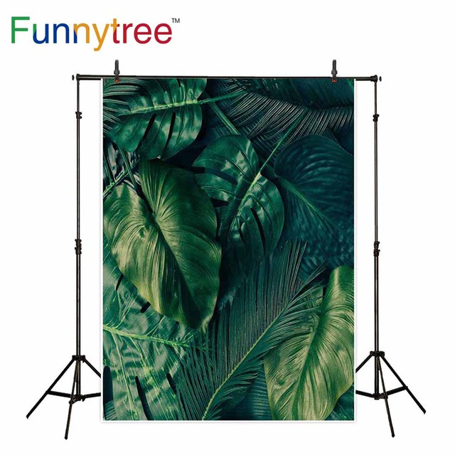 Funnytree backdrop for photographic studio green leaves summer tropical nature background professional photocall photobooth
