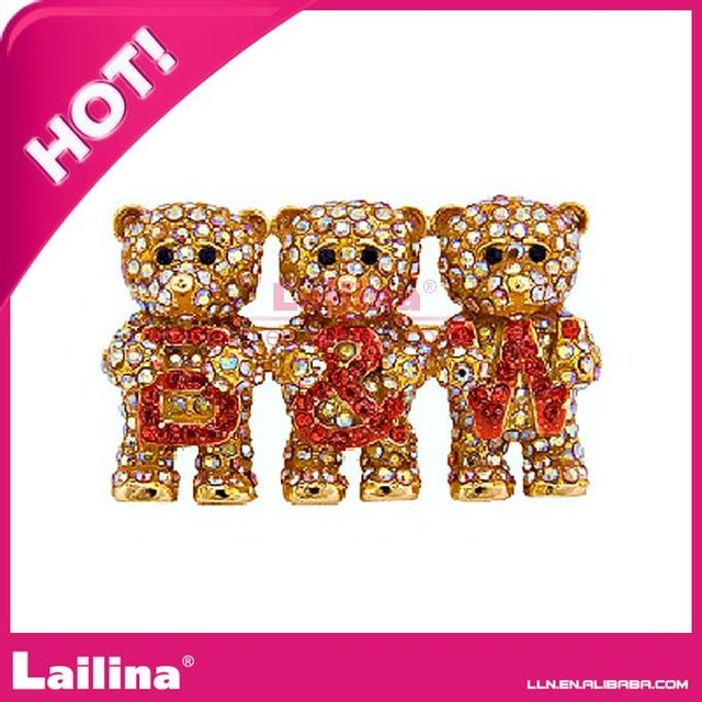 fashion bear crystal rhinestone brooch