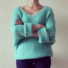 Women V Neck Sweater, Drop Shipping Fashion Batwing Sleeve Sweater, Minty Color Thick  Long  Winter Sweater 2015
