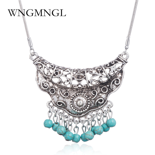 WNGMNGL Ethnic Style Fashion Jewelry Natural Stone Pendant Necklace for Women Gifts Vintage Tibetan Silver Carve Hollow Necklace