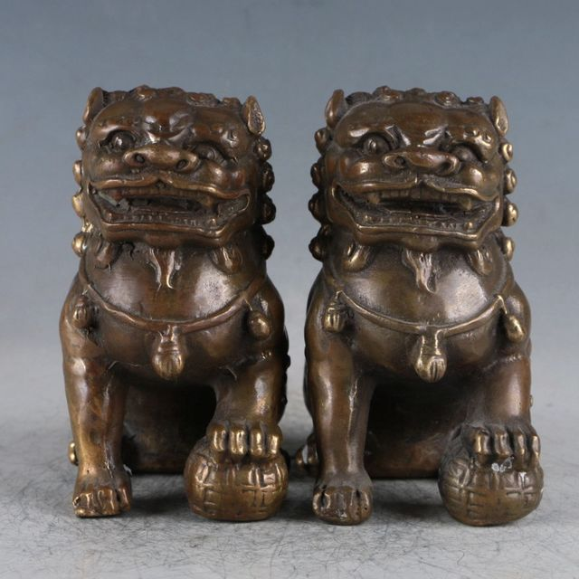 Exquisite Brass A Pair Of Lions Statue