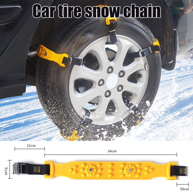 Vehemo TPU Yellow Snow Tire Belt Vihecle Tyre Snow Chain Anti-Skid Chains Universal Durable Climbing Mud Ground