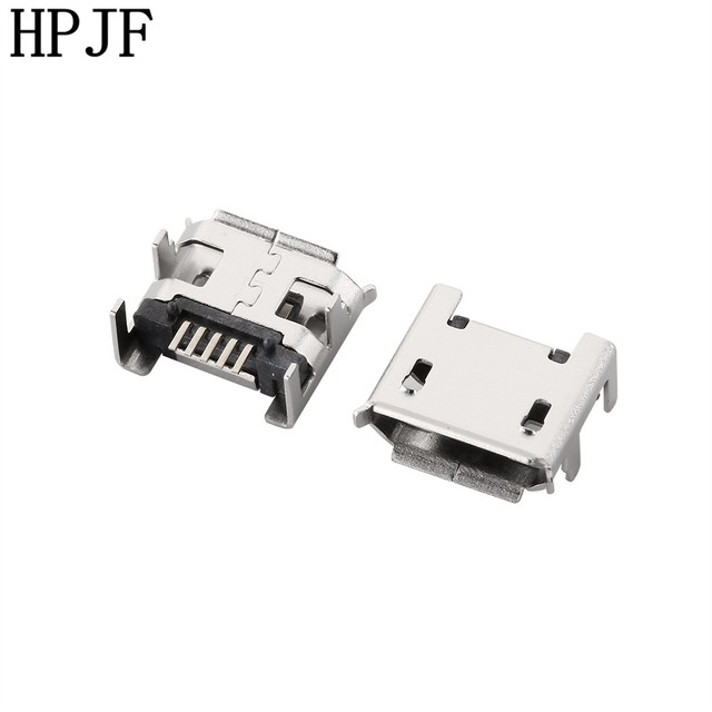 10PCS/lot Micro USB Connector Jack Female Type 5Pin SMT Tail Charging Socket PCB Board