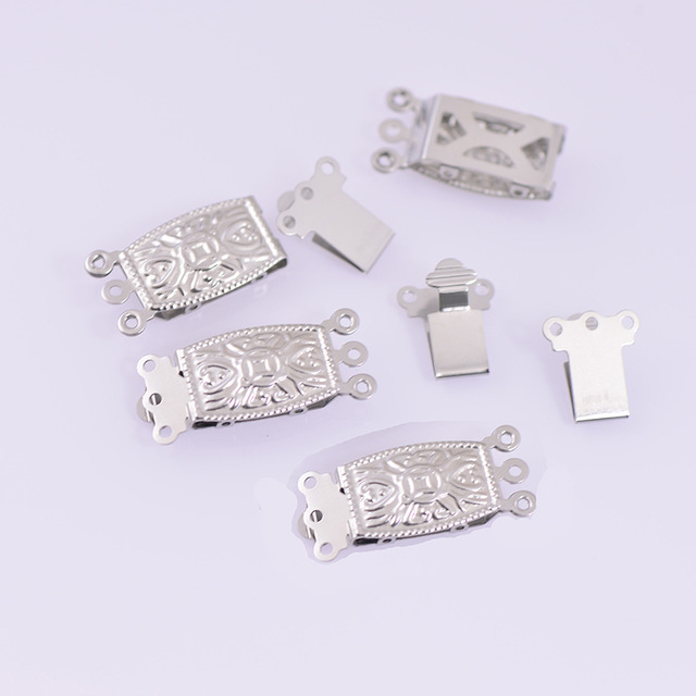 20*9mm 3 Strands Filigree Rectangle Nut Pearl Box Hook Clasps Insert End Clasp Connector Stainless Steel DIY Jewelry Accessories