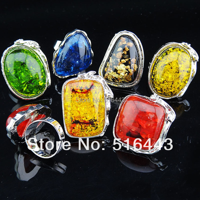 5pcs Mix Color Fashion Big Amber Silver Plated Women Mens Adjustable Vintage Rings Wholesale Jewelry Lots  A-768