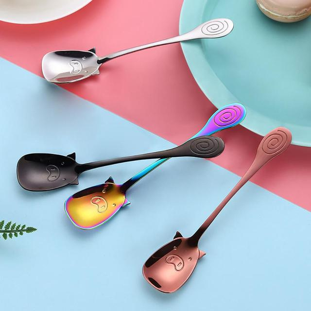 Stainless steel cute pig spoon Colorful Spoon Handle Spoons Flatware Ice Cream Drinking Tools Kitchen Gadget tea coffee spoon