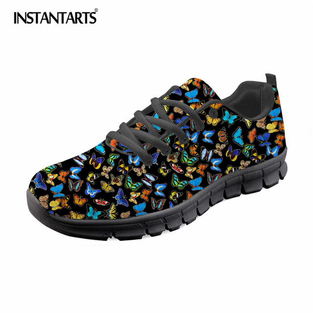 INSTANTARTS Novelty Butterfly Printed Women Casual Sneaker Shoes Summer Mesh Flat Shoes Fashion Breathable Lace Up Sneakers Lady
