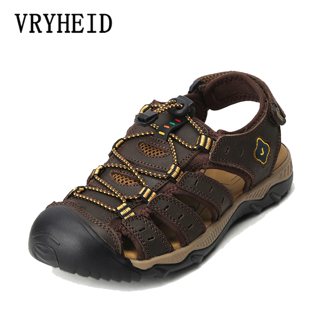 VRYHEID Men Sandals Genuine Leather Cowhide Male Summer Shoes Outdoor Beach Slippers Casual Suede Leather Sandals Plus Size 48