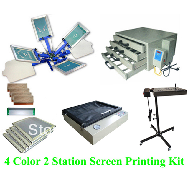Free shipping discount full set 4 color 2 station t-shirt screen printing kit press printer machine flash dryer expsoure