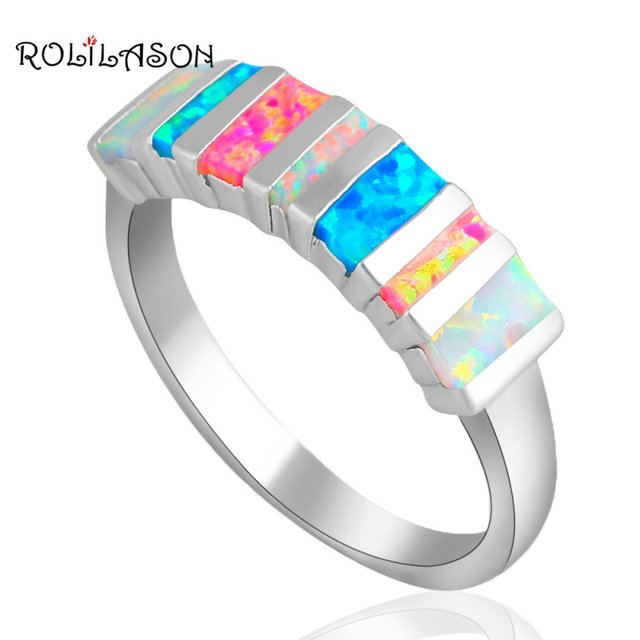 Rectangle style Popular design Color fire Opal silver color Stamped Rings Fine  jewelry for women USA SZ #6 #7 #8 #9 #10 OR636