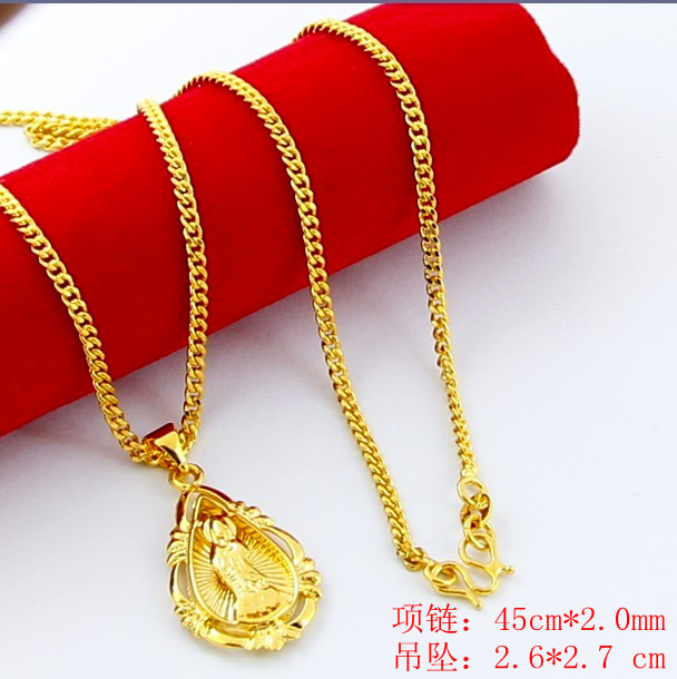 New Arrival Fashion 24K GP   gold color  Necklace Mens & Women Yellow Gold Golden Jewelry Necklace hot sell YHDN023