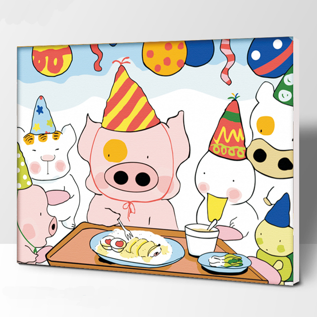 Frameless Picture three little pigs DIY Painting By Numbers Modern Wall Art Handpainted Oil Painting On Canvas For Home Decor