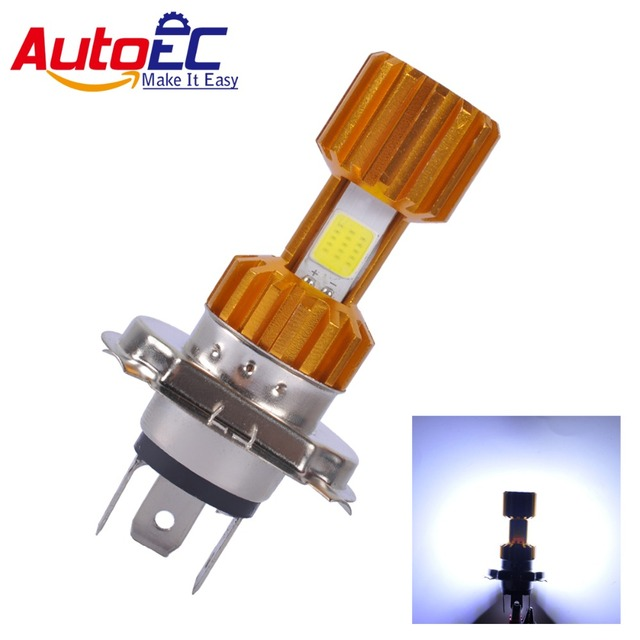 AutoEC 1x H4 COB LED Motorcycle Headlight High Low Beam Light Super Bright White Motorbike Head Lamp Bulb #MTL023