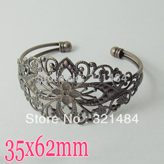 Wholesale 100pcs Antique bronze brass Metal 35x62mm with filigree pad Bangle Bracelet Blank Base Tray Bezel Cabochon Setting