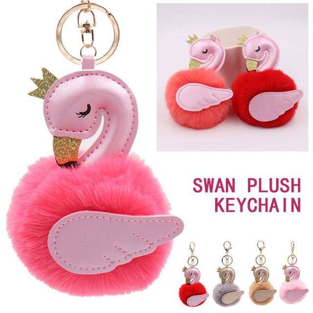 Plush Key Ring Swan Ornament Backpack Lovely Gift Clothing Bag Keychain Pendant Delicate Decoration Key Buckle Hanging Party