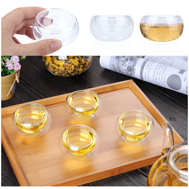 Glass Tea Cup Dining Bar Drinks Creative Beer Clear Milk Glass Cup Insulated Thermal 50ml Coffee Mugs Coffee Pots Container
