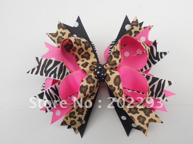 big size leopard hair bows and halloween bows