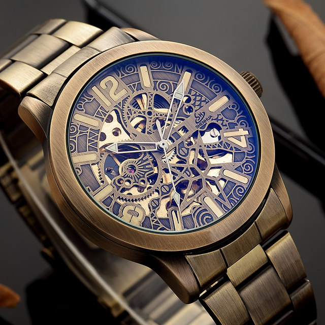 2020 New Hollow carved Men's Retro Bronze Automatic Watches Skeleton Brand Luxury relogio Stainless Steel Mechanical Wristwatch
