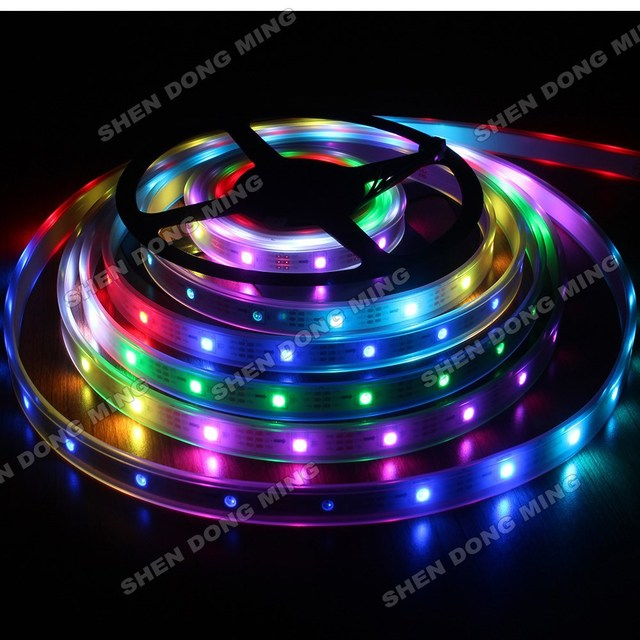5m ws2801 36 Led strip ribbon tape 12V Waterproof IP67 12 IC/m digital smart led pixel strip light RGB neon ambilight TV decor