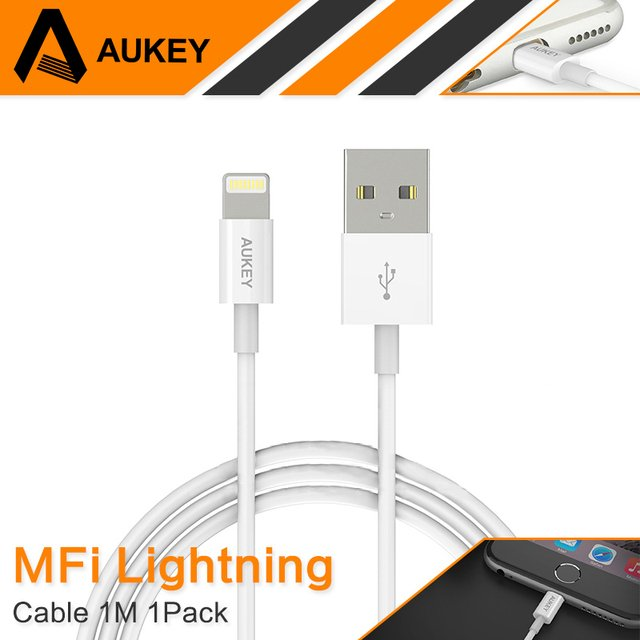 AUKEY for MFi Certified 8 Pin Lightning to USB Cable For iPhone USB Fast Charging Cable for Apple iPhone 8 5s 6 6s 7 Plus iPad