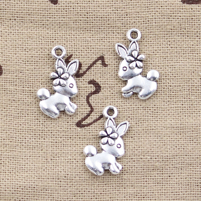 12pcs Charms Double Sided Rabbit 18x10mm Antique Making Pendant fit,Vintage Tibetan Bronze Silver color,DIY Handmade Jewelry