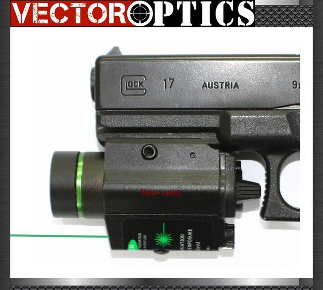 Vectop Optics Tactical LED Flashlight Torch / Green Dot Laser Sight Combo 200 LM 650nm for Pistol Guns Glock 17 19 Weapon Light