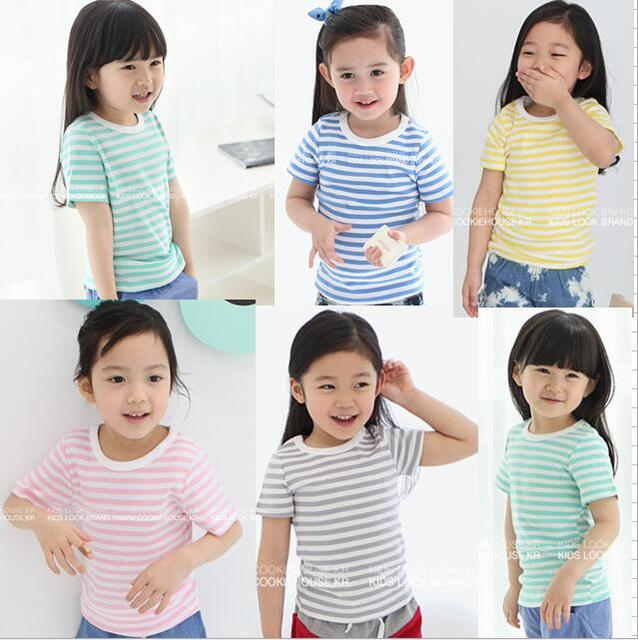 2018 kids girls summer tops Baby Girls Short-Sleeve New Striped Cotton Tees Children Casual Cloth for Girls 2 3 4 5 6 7 8 Years