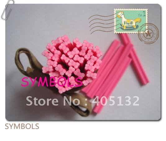 f-03 Free Shipping 100pcs 5mm Pink Bow Polymer Clay Cane Fancy Nail Art  Polymer Clay Cane