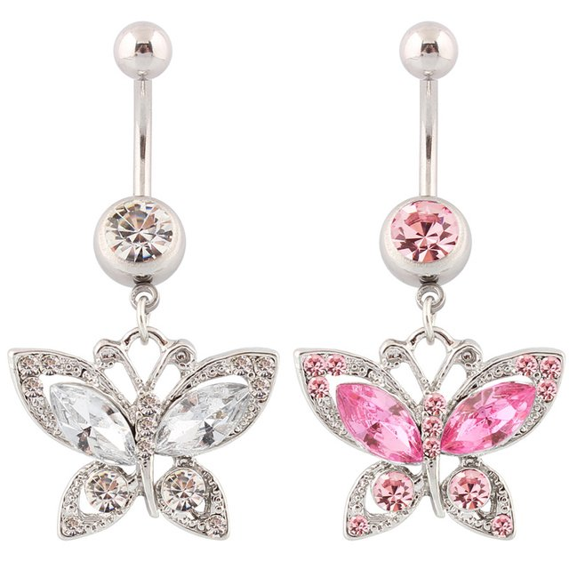 Piercing butterfly fashion belly ring body piercing lady body jewelry navel rings Wholesale 14G Surgical Steel bar