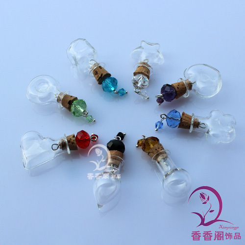 5PC 20x20MM Wishing Bottles(8 Designs Available) make a wish necklace, Fairy Dust Bottles