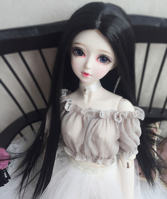 1/3 1/4 1/6 1/8 Bjd SD Doll Wig High Temperature Wire Black Long Straight BJD Wig For Doll Hair