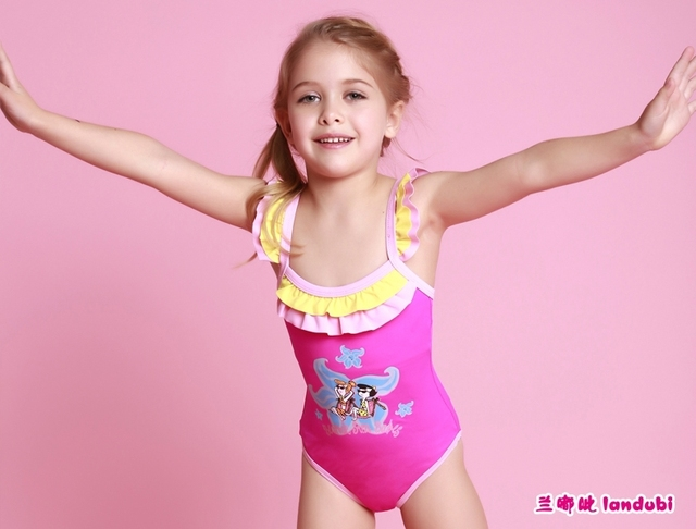2015 Toddler Baby Girl Swimwear,One pieces triangl cartoon Bathingwear for 2-8Y Child,brand High quality Hot sale Kids Swimsuit