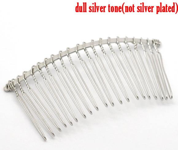 8Seasons Iron Based Alloy Hair Clips Arched Comb Shape Silver Color DIY Making Women Party Hair Jewelry 7.8cm x 3.8cm, 10 PCs