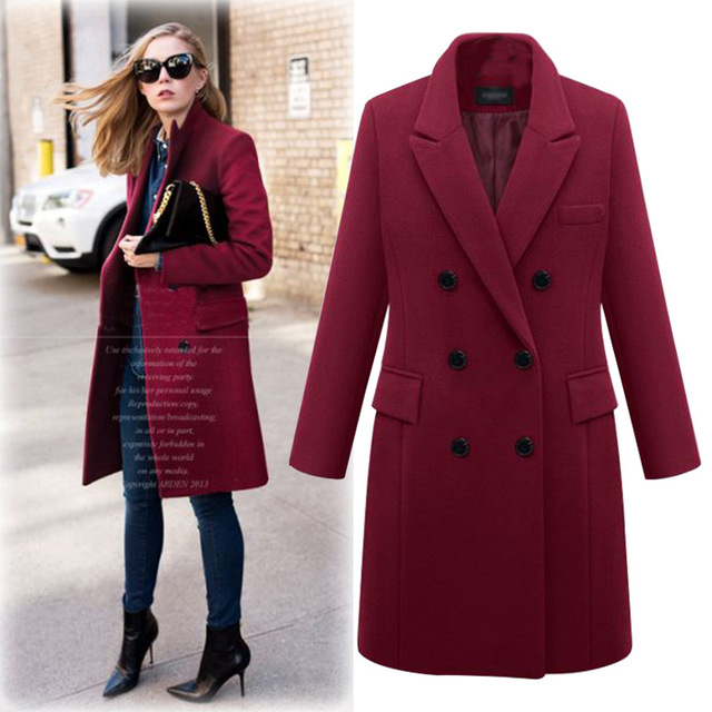 Office Lady Women Long Winter Wool Blend Coat Turn-down Collar Wool Coat and Jacket Wide-waisted Pockets Outerwear