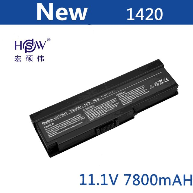 HSW Laptop Battery FOR Dell Inspiron 1420 Vostro 1400 312-0543 312-0580 312-0584 312-0585 451-10516 451-10517 WW116 battery