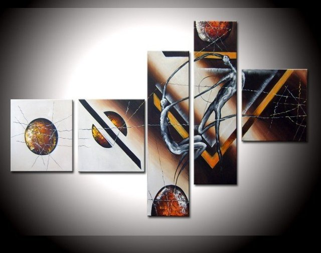 Hand Painted astronauts oil wall art decoration abstract framed oil paintings 5pcs/set mixorde