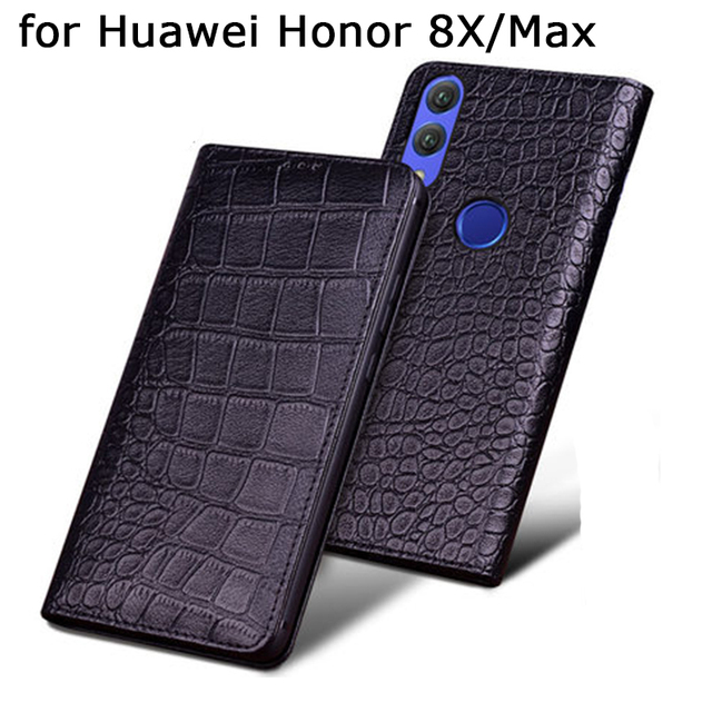 Original Crocodile Print Phone Case Cover for Huawei Honor 8X Luxury Genuine Leather Cases Skin for Fundas Huawei Honor 8X Max