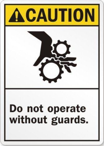 200pcs 15x20cm CAUTION do not operate without guards PVC material stickers, Item No. CA17