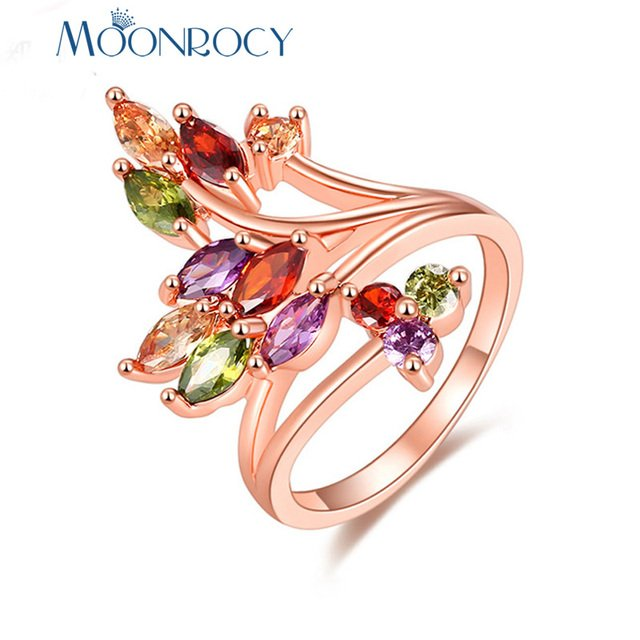 MOONROCY Cubic Zirconia Colourful Crystal Rose Gold Color CZ Rings Leaf Party Jewelry Wholesale for Women Girls Gift Drop