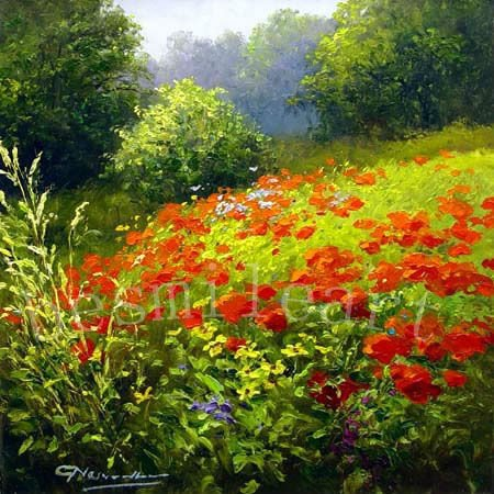 high quality handpainted french landscape oil painting on canvas ,valley  landscape oil painting with red flowers