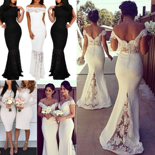 Fashion Summer Women Formal Lace Long Dress Party Casual Sleeveless Off Shoulder Sling Dress
