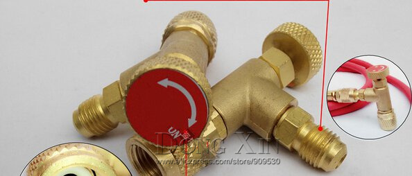 New Arrived HS-1221 R410A Refrigeration Charging Adapter,Air conditioning charging valve red one