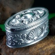 Free Shipping - Fashion Metal Jewelry Case trinket box Oval Shaped Carved Flower Design